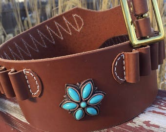 """Womens Cartridge Belts 3-1/4"""" Wide, with Conchos All Cartridges and Shells, Personalized Letters, Dk Brn, Blk, Russet, Top Grain Leather"""