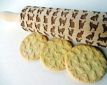CATS pattern Embossing Rolling Pin. Engraved rolling pin with cats for embossed cookies