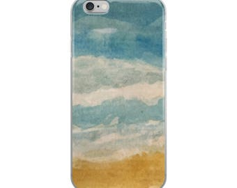 Beach phone case, iPhone 6, 7, 8, X case, Plus case, artsy iphone case, abstract coastal case, watercolor ocean case, painted art case