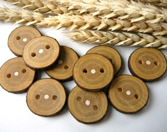 Wooden buttons set of 10, natural rustic wood buttons , branch buttons, craft supplies, craft accessories #4