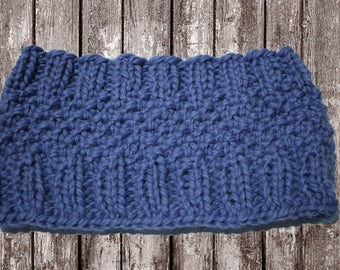 Knit Headband Pattern, Knitting Pattern for Messy Bun Hat, Knit Hat Pattern, Headband Pattern Knit in Round