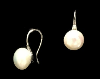 White Fresh Water Potato Pearl Earrings - Bridal Jewelry - Bridesmaids Gifts - 8mm Pearls - AspenTreeJewelry