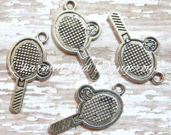 10 Tennis Racquet pewter charms (CM48)