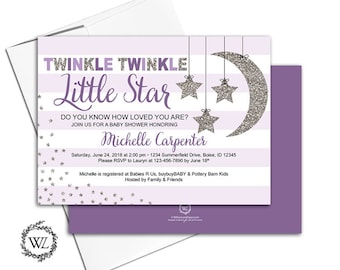 purple baby shower invitations for girls, twinkle twinkle little star invitation, moon stars stripes, printable or printed - WLP00710