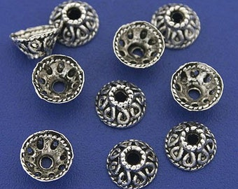 8 x 4  mm tibetan silver dome ornate  bead caps