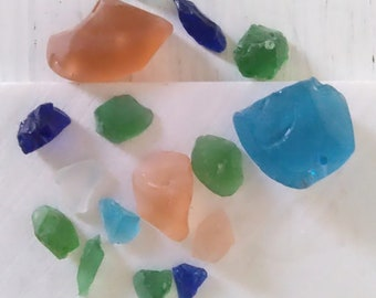 Multicolored Frosted Tumbled Glass Chunks. Pink Blue Green Faux Sea Glass Recycled Glass Beach Home Decor. Art Craft Supply Mothers Day Gift