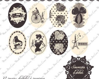 """Digital images for cabochons oval """"Memories of ANATAN"""" (32 images) to cut and stick on your creations"""