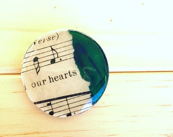 FREE SHIPPING - Wooden hand painted and decoupaged brooch, vintage sheet music and dark green painted detail, one of a kind wearable artwork