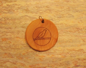 Bird on a Wire Wood Pendant