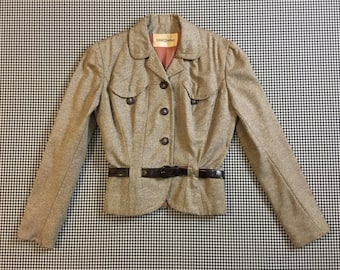 1960's, belted, blazer, in gray/brown, Women's size Small/Medium