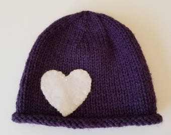 Purple Knit Baby Beanie with Heart