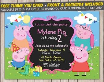 Peppa pig invitation etsy filmwisefo Images