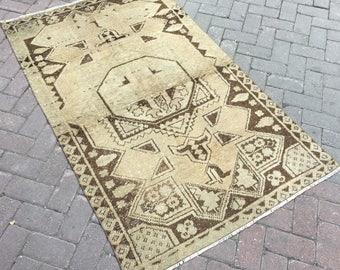 Oushak rug. Brown rug. Vintage oushak pastel rug. Wool rug. Decorative rug. 41.73x68.11inc.--106x173cm.