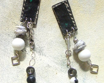 Winterscape dangles black and white upcycled artist palette