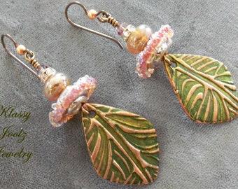 Copper Handmade PMC Charms-Glass Lampwork Beaded Earrings-Artisan Lampwork-Copper Earrings-Organic-Bohemian-Primitive Earring-SRAJD