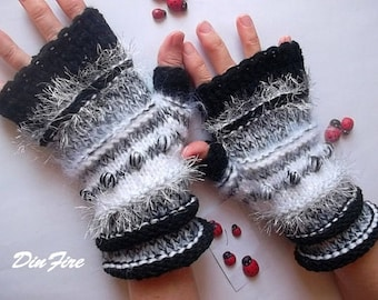 Women L 20% OFF Ready To Ship Fingerless Mittens Cabled Gloves Hand Knitted Striped Warm Accessories Wool Mohair OOAK Warmers Winter Arm 865