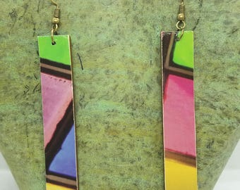 Abstract Colors Rectangle Drop Earrings