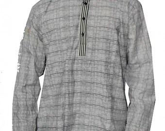 Handmade 100% Cotton Shirt Kurta Grey Printed tunic Plus size Loose fit Big and Tall