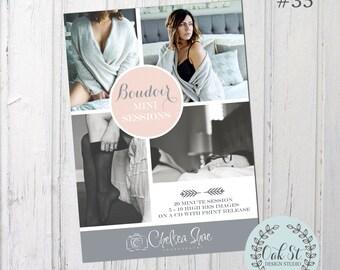 PHOTOGRAPHER TEMPLATE Boudoir Mini Session Flyer, Photographer Photoshop Template, Boudoir Flyer, Design #35
