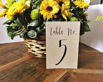 Kraft Table Numbers Table Numbers, Wedding Table Numbers, Rustic Table Numbers