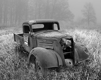 Rustic Chevy Truck, Pickup Truck, Morning Fog, Vintage Truck, Old Wreck for Sale, Farm Field, Michigan Landscape, Fine Art, Auto Photograph