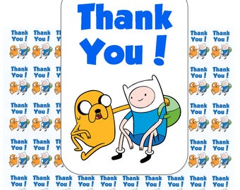 "50 Adventure Time Thank You! Envelope Seals / Labels / Stickers, 1"" by 1.5"""