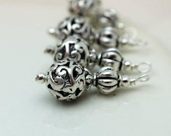 Silver Filigree Round Bead Dangle Earring Dangle Charm Drop Earring Dangle Set