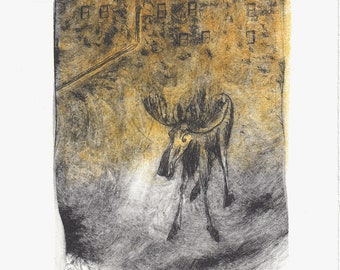 Drypoint print 'Moose in the City'. Limited edition print.
