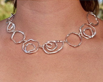 Abstract links silver necklaces, Sterling Silver links necklace, Silver Chain Necklace, Sterling Silver Link Choker, Necklaces for women