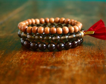 Mala Bracelet Trio- Garnet, Smoky Quartz, Wood Prayer Bracelet Stretch Beaded Gemstone Mala Beads Tassel Bracelet Yoga Bracelet Stack