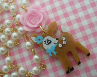 RESERVED For Delora Super Cute Bambi baby deer with lucite pink rose Necklace
