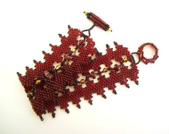 Blood Red Gothic Bracelet - red and gold zigzag bracelet -  beadwoven bracelet - swiss cross - toggle bracelet - dark red bracelet