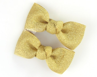 Pair of Gold Hair Clips - girls gold hair bows, metallic gold hair clips, baby hair bows, infant hair bows, girls hair bows, girls ribbon