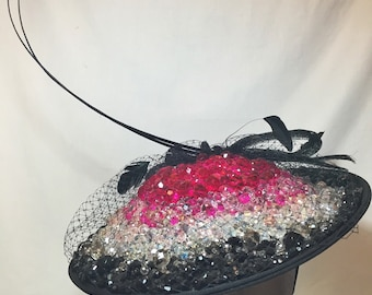 "Kentucky Derby or Kentucky Oaks Beaded Fascinator ""Nicole"""