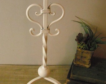 Vintage tall Wrought Iron Candle stand ... Wedding Romantic Shabby chic White