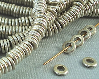 40 Silver Beads Disk 6mm Heishi Disc Spacer Big Hole Silver Plated India Wide hole 3mm Large Hole Beads Flat Metal Beads Natural beads