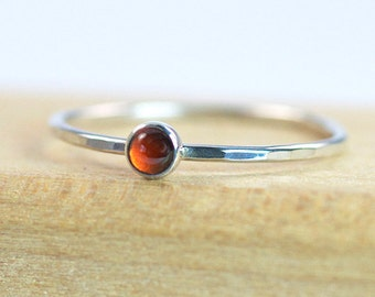 3mm Garnet Silver Stacking Ring / Sterling Silver Garnet Ring / Handmade Ring / January Birthstone Stacking Ring / Made to Order Ring