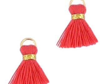 Beaded tassels, tassels, tassel pendant-1.5 cm-3 pcs.-Color selectable (color: red-orange)