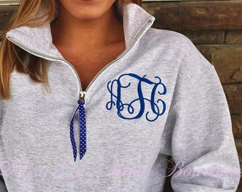 Monogram Sweatshirt Quarter zip, Monogram Fleece Pullover, Monogram Sweatshirt, Monogram Pullover with Ribbon