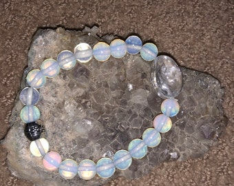 Opalite Crystal Bracelet with Clear Quartz Chunk