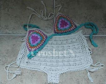 Crochet bikini Bikini crochet Crochet swimsuit Crochet swimwear bikini  Crochet beachwear Crochet shorts -MADE TO ORDER 17047