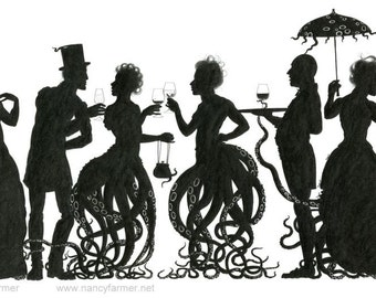 "Original drawing, surreal steampunk octopus-people - ""Octoparty"" - sinister fantasy art by Nancy Farmer (unframed)"