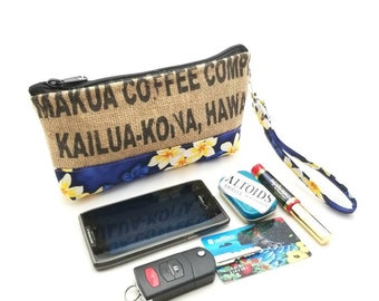 Burlap Recycled Coffee Bag Wristlet - iPhone 6+, Samsung 8+