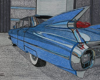 Cadillac Eldorado hand-drawn drawing / painting