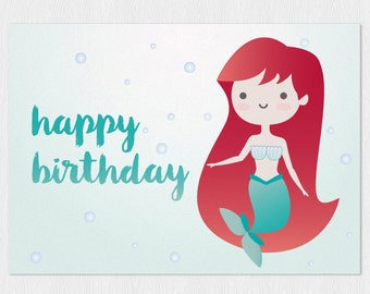 Little Mermaid kawaii Happy birthday's card PDF DIY Printable 6x4 inch - Printable greeting card instant download