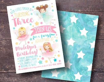 Fairy Party Invitation, Fairy Birthday Invitation, Fairy Invitation, Cute Fairy Invitation, Pink Fairy Invitation, Fairytale invitation