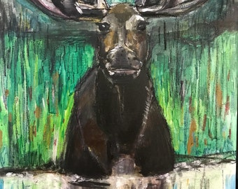 "Moose, Acrylic on Canvas Board, 16""x20"", 2018."