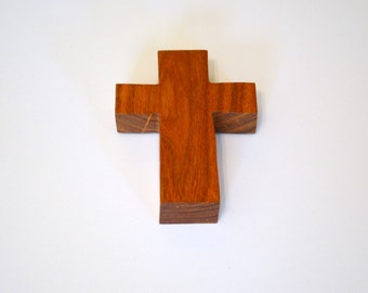 "Wood Wall Cross; Hand Held-3""x5""x1""; Handmade Crooked Cross;Made in Texas; Mesquite Wood; Christian Gift; Free Ground Shipping; cc5-3010417"