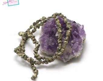 "strand 39 cm approx 100 ""mini raw stone"" pyrite beads, natural stone"