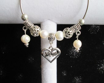 """Ivory Freshwater Pearl and Silver Beaded """"Mom"""" Bangle Bracelet #1"""